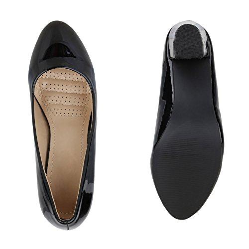 Stiefelparadies Klassische Damen Pumps Mid Heels Leder-Optik Schuhe Blockabsatz Flandell Schwarz Arriate