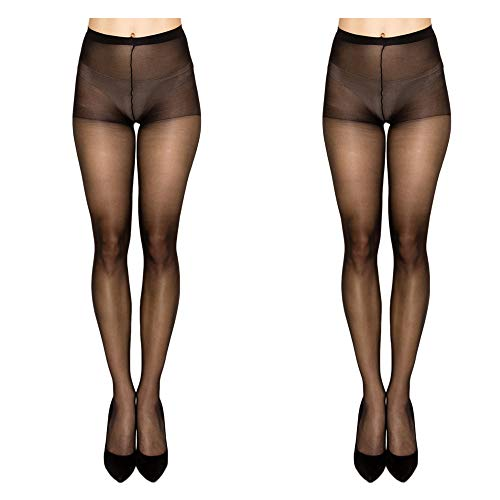 f3d1651c6 Women High Support Pantyhose Stockings - 2 Packs of Silky Soft Light weight  Comfortable Stretchy Waistband