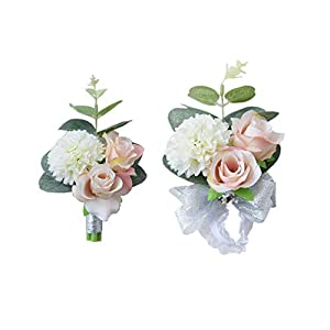 Prettybuy 2pcs Package Real Looking Touch Wedding Prom Party Fabric Flower Wrist Corsage & Boutonniere Flower Set w/Fabric Green Leaves Decor and Elastic Wristband Set 36