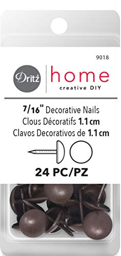 Dritz Home 9018 Smooth Decorative Nails, 7/16-Inch, Brown (24-Piece)