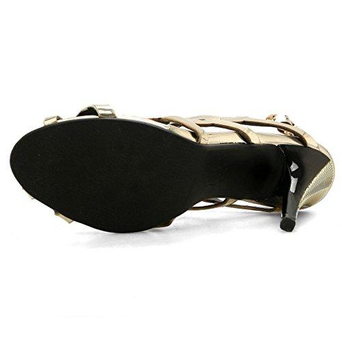 Slingback Creux 1 Sandales À Gold Peep Femmes Talon Aiguille Taoffen Toe Chaussures zq54pSSw