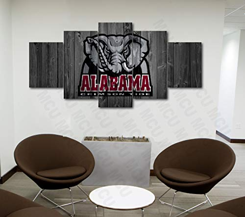 5 Piece American Football College University Teams Art Decor Wall Poster (5 Piece Medium, Alabama Crimson Tide) ()