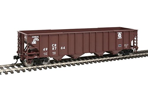 50' 100-Ton 4-Bay Hopper - Ready to Run -- Conrail #498764 (brown, white; Quality Logo) - Conrail Hopper