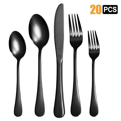 Nicekitchen Silverware Set Flatware Cutlery Stainless Steel Matte Metal Utensils Group Serves 4, 20-piece, (4 Piece Serve Set)