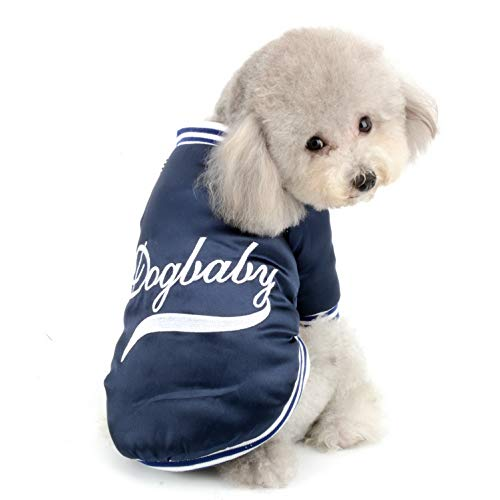 SELMAI Dog Winter Coat Fleece Lined Baseball Uniform Jacket Apparel Costumes Casual Pet Parka Coat for Small Dogs Cats Cotton-Padded Windproof Girl Boy Warm Dog Apparel Clothing Blue L