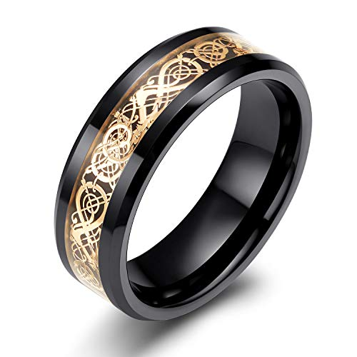 SOMEN TUNGSTEN 8mm Black Ceramic Ring with Rose Gold Celtic Dragon Pattern Inlay Wedding Band for Men Size 8