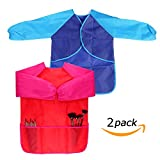Kids Art Aprons Children Art Smock with Waterproof Painting Apron Long Sleeve 3 Pockets for Age 3-8 Years,Pack of 2