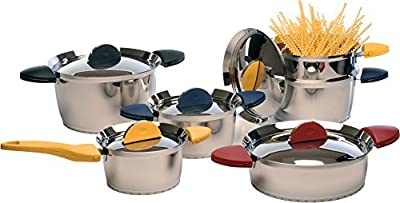 BergHOFF 11 Piece Stacca Cookware Set, Medium, Silver/Yellow