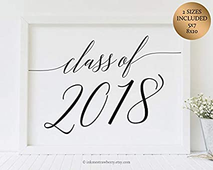 picture relating to Printable Graduation Decorations named Arvier Printable Cl Of 2018 Indicator Commencement Centerpiece