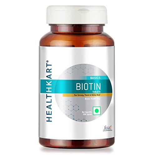 HealthKart Biotin Maximum Strength for Hair Skin & Nails-10000 mcg, 90 Tablets & Omega-3 Fish Oil (1000mg Omega-3, 180mg…