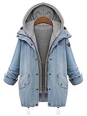 Milumia Women's Hooded Drawstring Boyfriend Trends Jean Swish Pockets Two Piece Coat Jacket