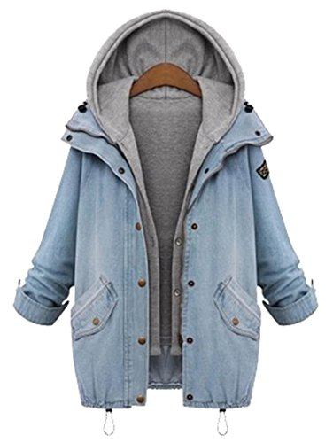 Milumia Women's Hooded Drawstring Boyfriend Trends Jean Swish Pockets Two Piece Coat Jacket Medium Blue