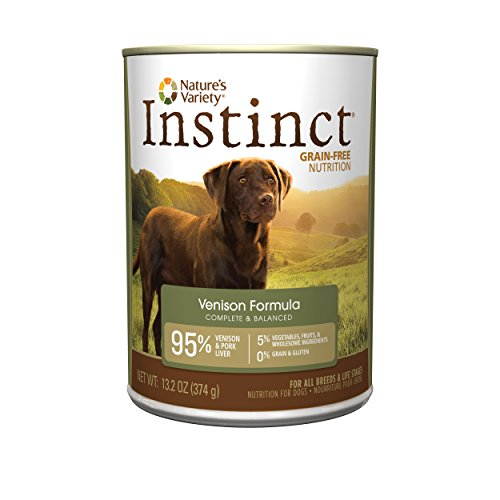 Instinct Grain Free Venison Formula Natural Wet Canned Dog Food by Nature's Variety, 13.2 oz. Cans (Case of 12)