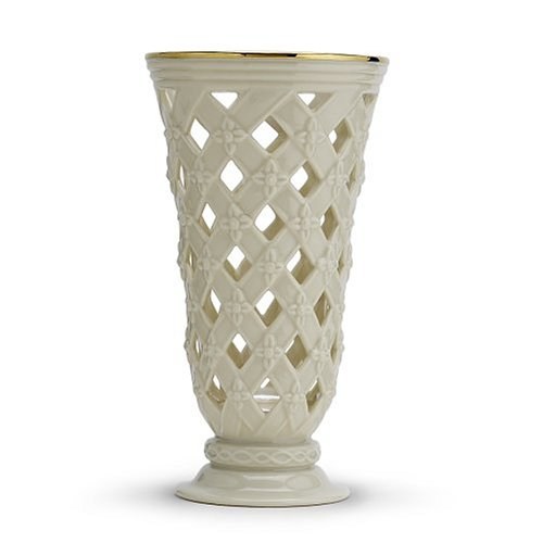 Lattice Vase (Lenox Classic Gold Banded Ivory China Pierced Lattice Vase)