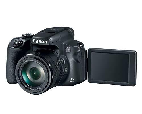 Canon Powershot SX70 20.3MP Digital Camera 65x Optical Zoom Lens 4K Video 3-inch LCD Tilt Screen (Black)