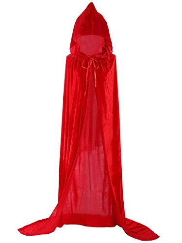 Unisex Halloween Cloak Hoodie Velvet Vampire Witch Devil Cape Cosplay Costume Red 51