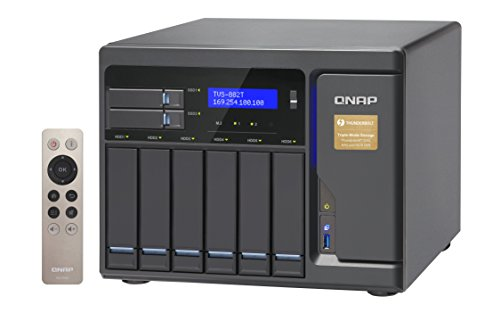 """QNAP 8 Bay Thunderbolt 2 Das/NAS/iSCSI IP-San Solution, Intel Core i5 3.6GHz Quad Core (TVS-882T-i5-16G-US) 2 Intel Core i5-6500 3.6 GHz, 16GB RAM (max. 32GB), 6x 3.5"""" HDD, 2x 2.5"""" HDD/SSD, 2x M.2 SSD slots, 4-lan, 2x 10gbase-t, 2x Thunderbolt port, iscsi, PCIe expansion slot x3 Built-in M.2 SATA 6GB/s slots & 2.5"""" SSD slots ; qtier technology and SSD cache enable 24/7 optimized storage efficiency TRIPLE HDMI output (including one HDMI 2.0) for smooth 4K video playback"""