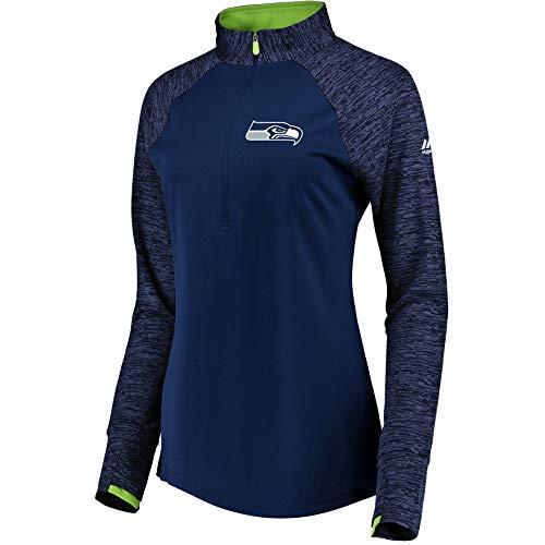 Seattle Seahawks Women's Majestic Ultra Streak 1/2 Zip Pullover Top - Navy Small