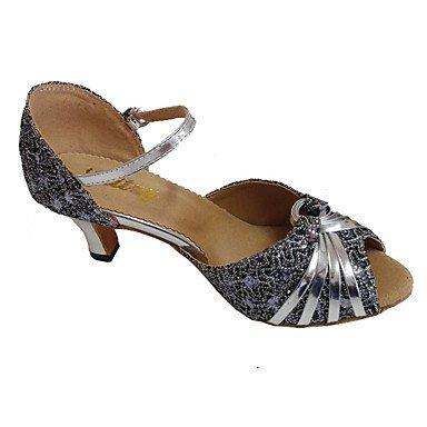 XIAMUO Anpassbare Damen Tanz Schuhe angepasste Ferse funkelnden Glitter Latin Dance Schuhe, Silber, Us2.5/EU 32/UK1/CN 31.