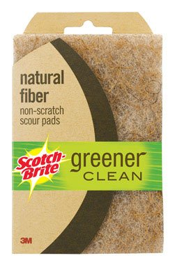 3M Scotch-Brite 97223 Greener Clean Natural Fiber Non-Scratch Scour Pad, 2-Pack