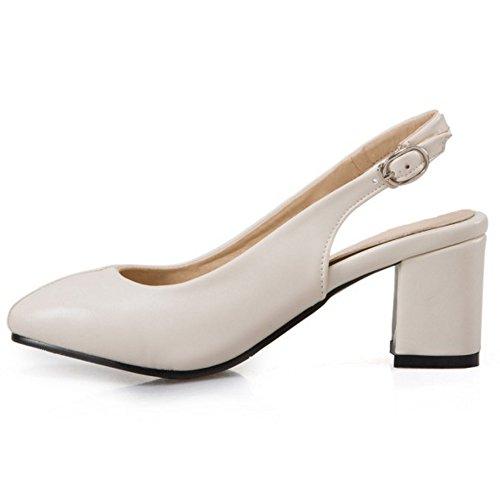 COOLCEPT Mujer Moda sin Cordones Sandalias Tacon Ancho Cerrado Slingback Zapatos Tamano Beige