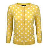 Women Cute Polka Dot Jacquard Crewneck Button Down Sweater Cardigan MK3104-YEL-S