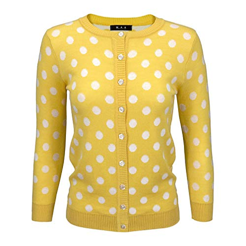 YEMAK Women's Cute Polka Dot Jacquard Crewneck Button Down Sweater Cardigan MK3104-YEL-S Yellow (Dot Cardigan Sweater)