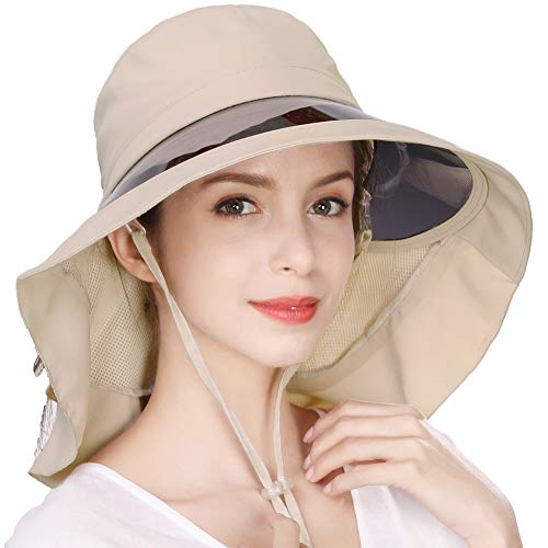 Jeff & Aimy Summer Womens UPF 50 Sun Hats for Ladies Wide Brim Gardening Sunhat Packable with Neck Flap Chin Cord Adjustable Ponytail Hole Beige