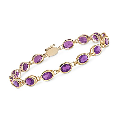 Ross-Simons 9.75 ct. t.w. Oval Bezel-Set Amethyst Bracelet in 14kt Yellow Gold -