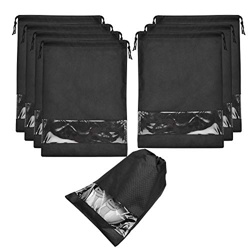 SPIKG 8 pcs Shoe bags for Travel Storage Dust-Proof Drawstring with Window (Black)