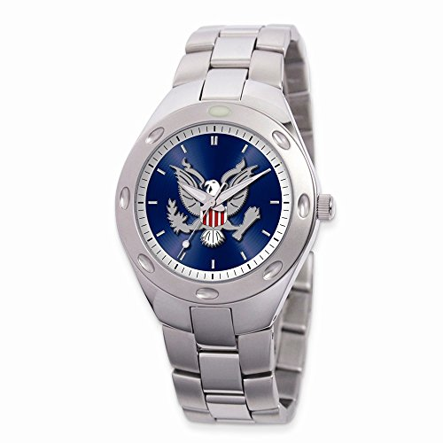 Stainless Steel Round Blue Dial US Army Watch by viStar