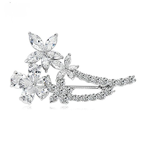 Beydodo White Gold Plated Brooch Pin For Women Floral Corsage Bouquet White AAA Cubic Zirconia,