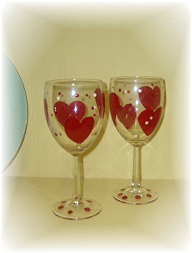 Personalized Hand Painted Valentine Heart and Polka Dotted Wine Glasses -