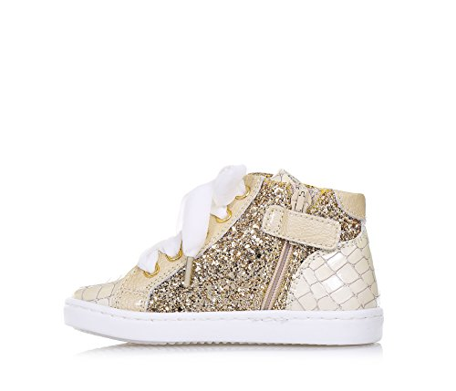 MONNALISA - Beige Sneaker mit Schnürsenkeln, aus Leder und Glitzern, made in Italy, romantisch und spaßig, Madchen