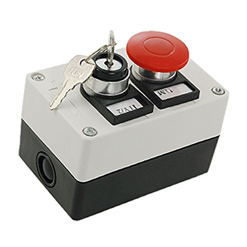 URBEST 660V 10A Red Momentary Mushroom 2 Position on/off Key lock Rotary Push Button (Mushroom Push Button Switch)
