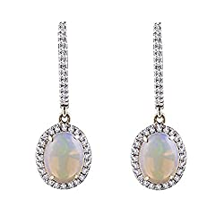 Natural Diamond Opal Drop Earrings For Women