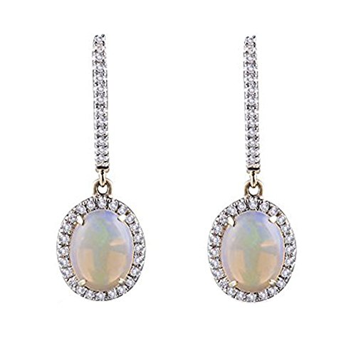 Jewelry Sets Solid 14K Yellow Gold Natural Diamond Opal Drop Earrings For Women