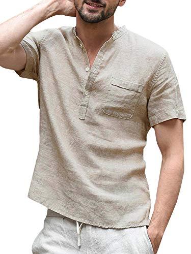 Enjoybuy Mens Summer Linen Henley Shirts Short Sleeve Banded Collar Casual Beach Shirt Tops Khaki - Banded Sleeve Collar Short Shirt Work