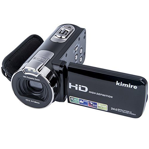 Digital Camera Camcorders Kimire HD Recorder 1080P 24 MP 16X Powerful Digital Zoom Video Camcorder 2.7 Inch LCD Stabilization with 270 Degree Rotation Screen Camera Bag Lithium Battery(312P-Black)