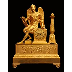 A Stunning 19th Century, Louis XVI Model, French Gold Plated Bronze Mantel Clock, Circa 1840s !!