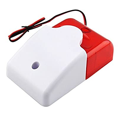 OKgift Mini Strobe Siren 12V, Indoor Outdoor Wired 110dB Sound and Flash Light Security Alarm Siren, Red
