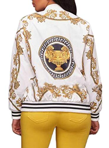 Stampa Lunga Con Manica Donne Grmo Bomber Zip Bianco Giacca Dimagrante up HCx65qwpq
