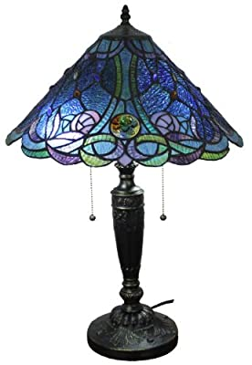 Amora Lighting AM1102TL16 BLUE Tiffany Style Table Lamp 24 In