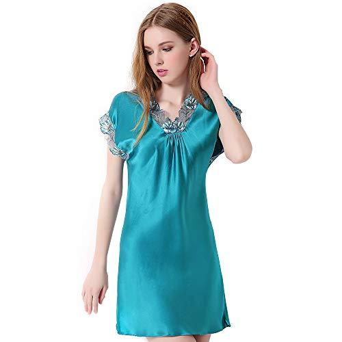 Women's 100% Silk Pyjamas V Neck Trimmed, Pure Mulberry Silk Pajamat Nightgown, Silk Satin Kimono Robe Pajama Dress Bathrobe Dressing Gown Bridesmaid,A,XL ()