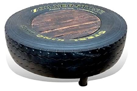 Tyre Coffee Table 45 x 120cm Upcycled Tyre Vintage Industrial