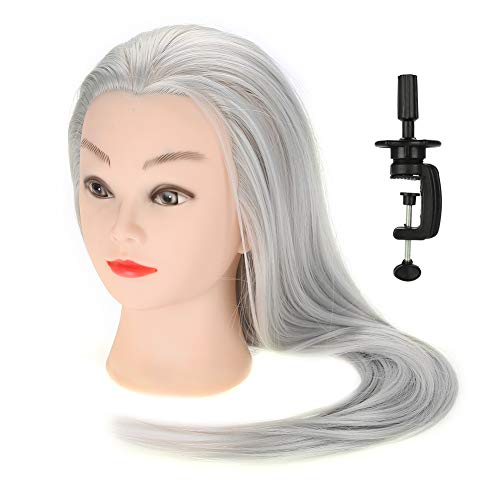 Training Head, Salon Cosmetology Practice Mannequin Doll Head with 30% Human Hair Dyeable and Reusable for Home and Professional Hairdresser (Light Gray)