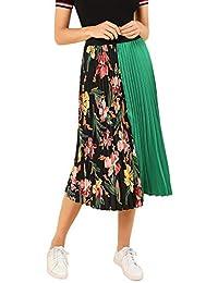 SheIn Falda Plisada de Verano para Mujer, diseño Floral, línea A