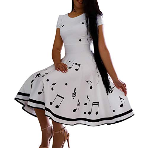 Rambling Women's 1950s Vintage Retro Musical Note Print Sleeveless Crew Neck Cocktail Evening Party Dress White
