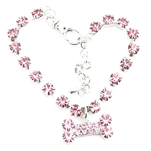 Bone Adjustable Dog Collar (super1798 Cute Pet Necklace Collar Bone Heart Pendant Rhinestone Decor for Dog Cat Pet (Pink Bone, M))
