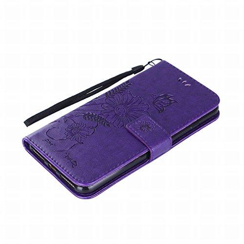 Yiizy handyhülle Apple IPhone 7 Plus hülle, Sonnenblume Tasche Leder Schutzhülle PU Ledertasche Bumper Schutz Flip Cover Case Magnet Beutel Klappe Silikon Gummi huelle Schale Stehen Kartenhalter Stil